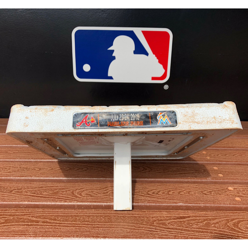 Photo of Game-Used Base: Marlins vs Braves (July 24, 2018) - Wei-Yin Chen First Career Double - 2nd Base, 4th-6th Innings