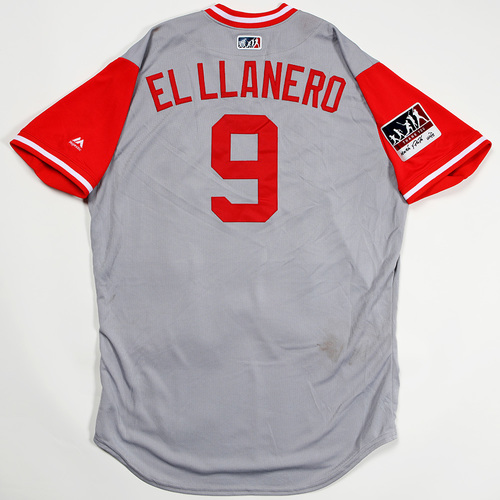 "Photo of Jose ""El Llanero"" Peraza Cincinnati Reds Game-Used 2018 Players' Weekend Jersey"