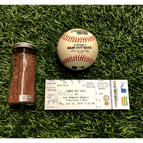 Photo of Shohei Ohtani Hit For The Cycle Baseball Package: Game Used Baseball, Game Used Dirt Jar & Replica Game Ticket - June 13, 2019 v LAA