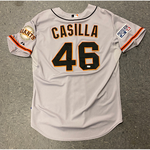 Photo of 2014 Game Used NLCS Road Jersey worn by #46 Santiago Casilla for NLCS Game 2 @ St. Louis Cardinals - Size 48