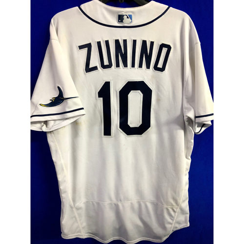 Photo of Game Used ALCS Game #7 Home Run Home White Jersey: Mike Zunino - October 17, 2020 v HOU