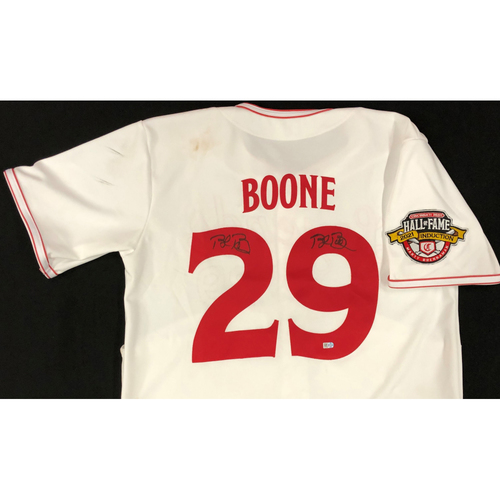 Photo of Bret Boone - AUTOGRAPHED Game Used Jersey: Reds Hall of Fame Legends Game