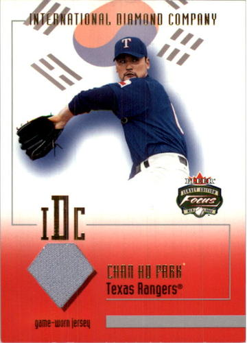 Photo of 2002 Fleer Focus JE Intl Diamond Co. Game Used #6 Chan Ho Park Jsy