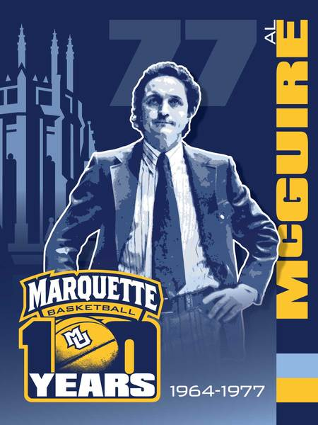 Photo of Al McGuire Marquette 100th Anniversary Banner