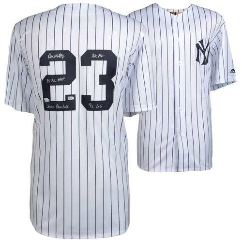 Photo of Don Mattingly New York Yankees Autographed White Majestic Cooperstown Collection Replica Jersey with Multiple Inscriptions - Limited Edition of 23