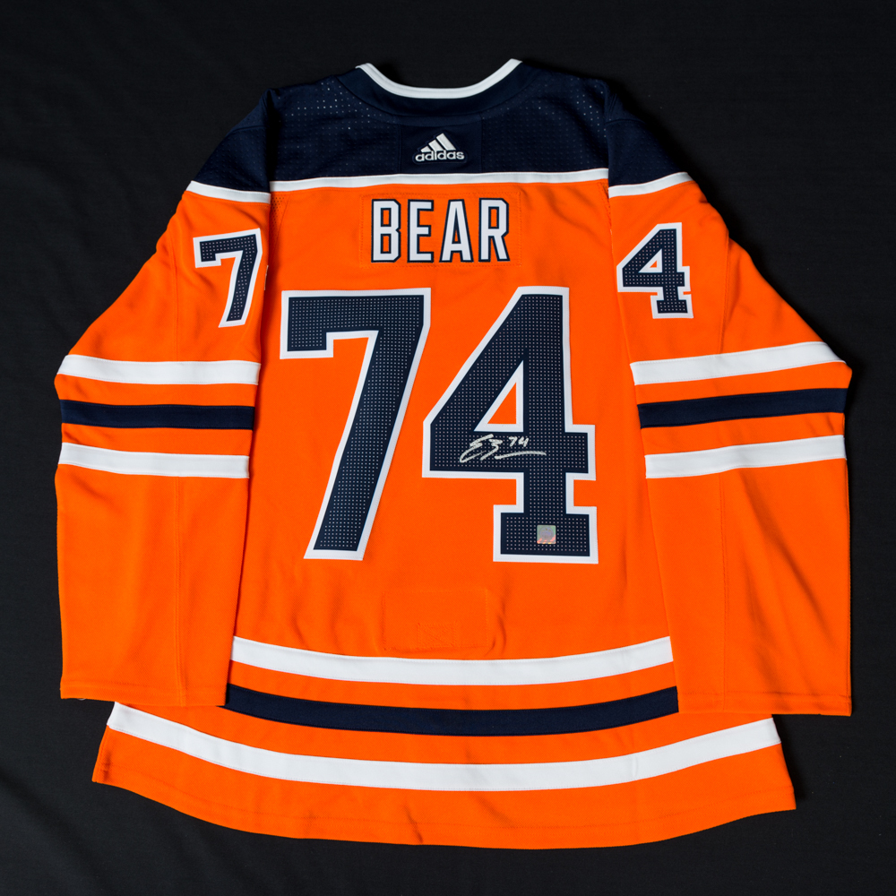 Ethan Bear  74 - Autographed Edmonton Oilers Orange Adidas Retail Pro  Authentic Jersey b4eb1ec96