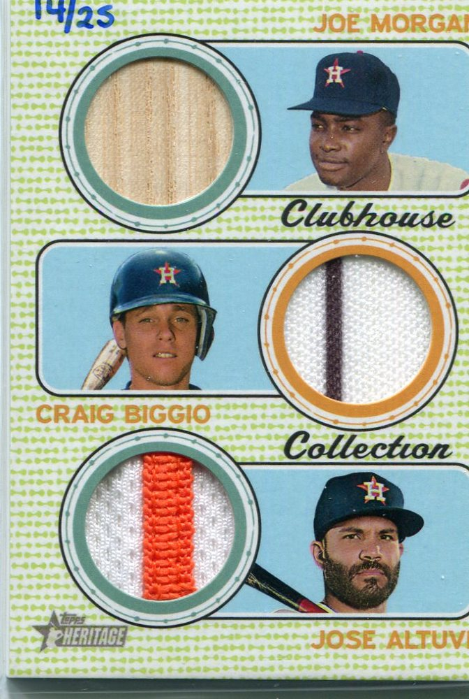 2017 Topps Heritage Clubhouse Collection Triple Relics Craig Biggio/Jose Altuve/Joe Morgan 14/25