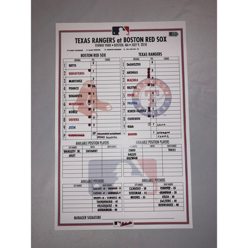 Photo of Rangers at Red Sox July 9, 2018 Game-Used Lineup Card Red Sox Win 5 to 0