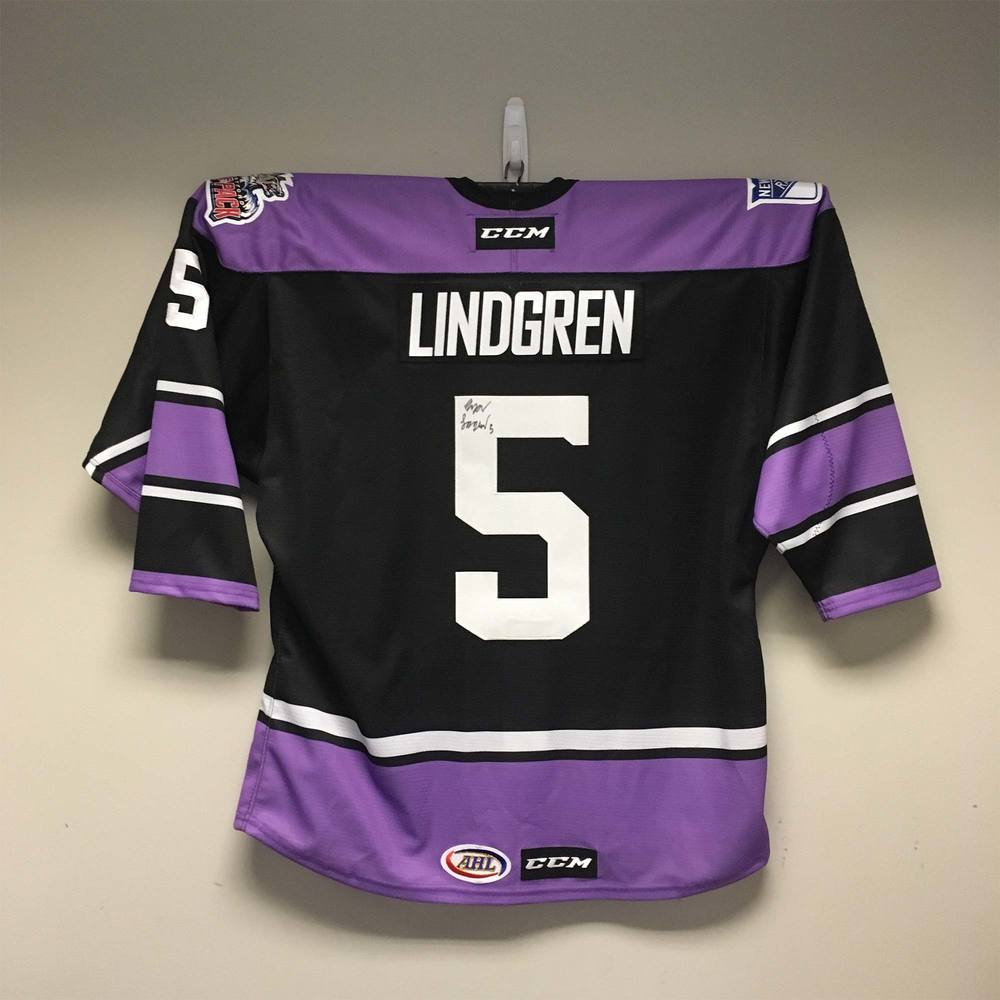 Hartford Wolf Pack Cancer Awareness Jersey Worn and Signed by #5 Ryan Lindgren