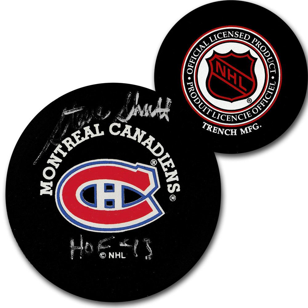 Steve Shutt Autographed Montreal Canadiens Vintage Trench Puck w/HOF 93 Inscription