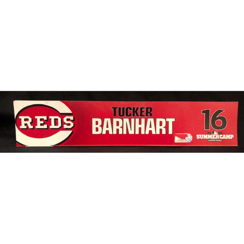 Tucker Barnhart -- 2020 Sumer Camp Locker Tag -- Team-Issued
