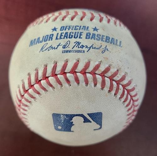 Photo of Authenticated Game Used Baseball: Manny Machado reaches on error against J.A. Happ (Sep 3, 2012 vs BAL). Top 4. Rookie Season for Manny Machado.