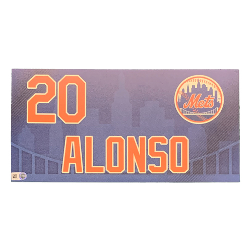 Photo of Pete Alonso #20 - Game Used Locker Nameplate - Citi Field Debut - 4/4/19 & 9/29/19