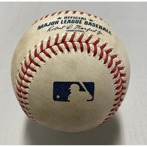 Photo of 2021 Game Used Baseball used on 9/4 vs. LAD - B-1: Urias to Posey - RBI Double to RF (Bryant Scores)