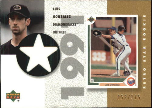 Photo of 2002 UD Authentics Retro Star Rookie Jerseys Gold #SRLG Luis Gonzalez