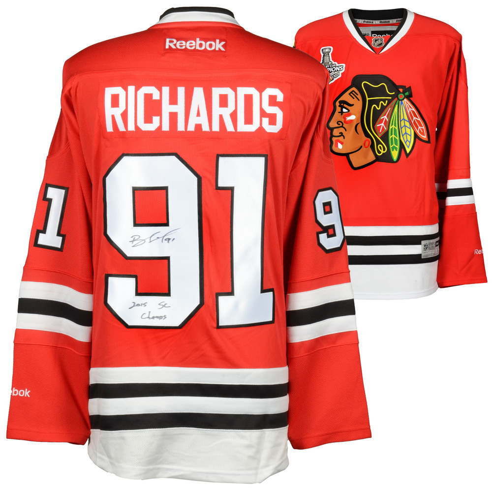 Brad Richards Chicago Blackhawks Autographed Premier Jersey with 2015 Stanley Cup Finals Patch and 2015 SC Champs Inscription