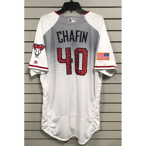 Photo of Andrew Chafin Game-Used 2017 4th of July Home Jersey