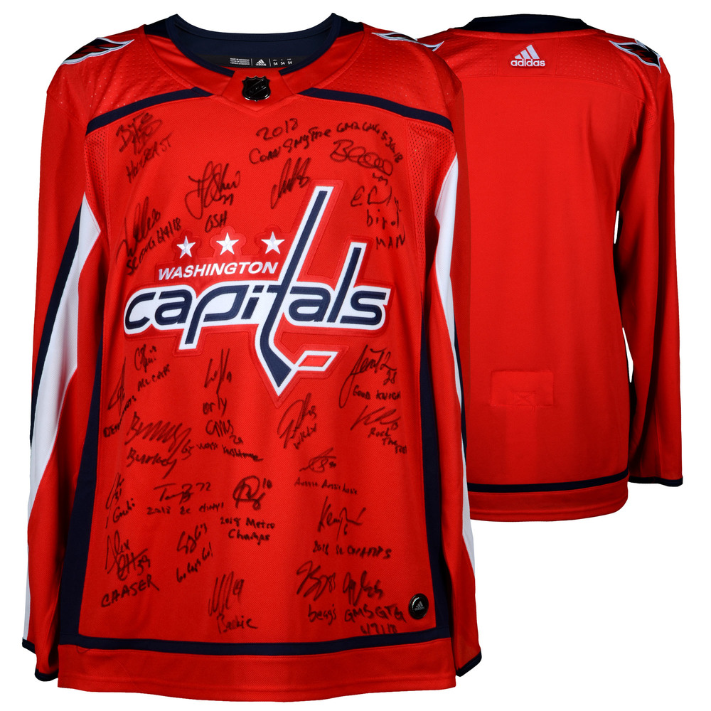 Washington Capitals 2018 Stanley Cup Champions Autographed Red Adidas Authentic Jersey with 21 Signatures and Inscriptions - #50 of Limited Edition of 50