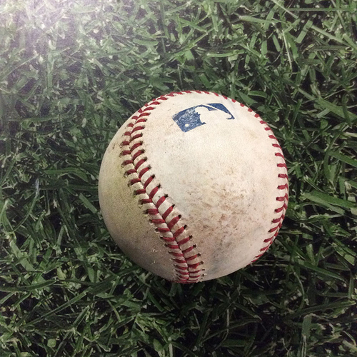 Photo of Game-Used Baseball ATL@MIL  07/06/18 -Jacob Barnes - Ronald Acuna Jr. / Dansby Swanson: RBI Single / 2-Run Single
