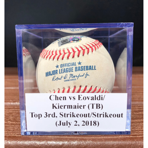 Game-Used Baseball: Wei-Yin Chen vs Nathan Eovaldi & Kevin Kiermaier (TB), Top 3rd, 2 Strikeouts (July 2, 2018)
