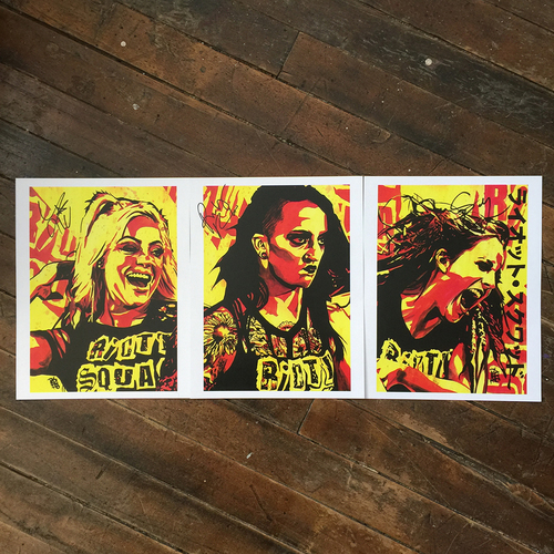 Riott Squad SIGNED 11 x 14 Rob Schamberger Print (Set of 3)