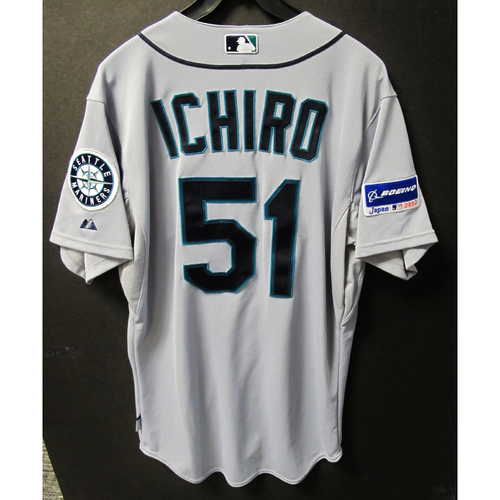 Photo of Ichiro Suzuki Authentic Game Used Road Jersey from Japan Series Mariners vs. A's - 3-29-2012