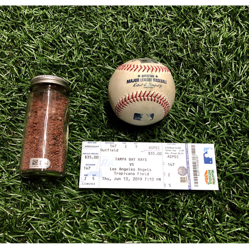Photo of Shohei Ohtani Hit For The Cycle Triple Package: Shohei Ohtani triple off Ryan Yarbrough, Game Used Dirt Jar & Replica Game Ticket - June 13, 2019 v LAA