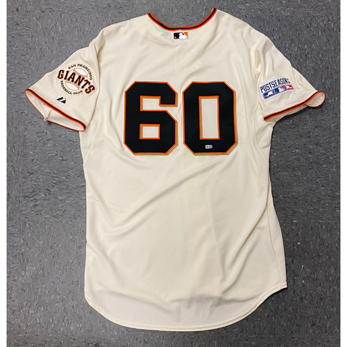 Photo of 2014 Game Used NLCS Home Cream Jersey worn by #60 Hunter Strickland for NLCS Game 4 vs. St. Louis Cardinals & NLDS Game 4 vs. Washington Nationals - Size 48