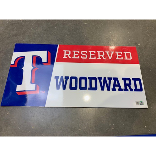 Photo of Designated Parking Spot Sign From Players Parking Area at Globe Life Park - Manager Chris Woodward