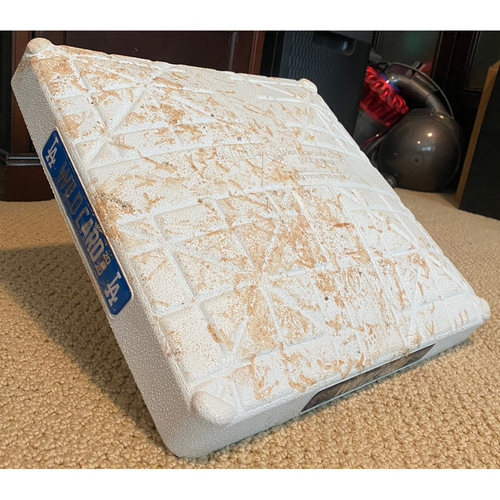 Photo of Game-Used Second Base: Wildcard Game Milwaukee Brewers at Los Angeles Dodgers - October 1, 2020 - Innings 1-4