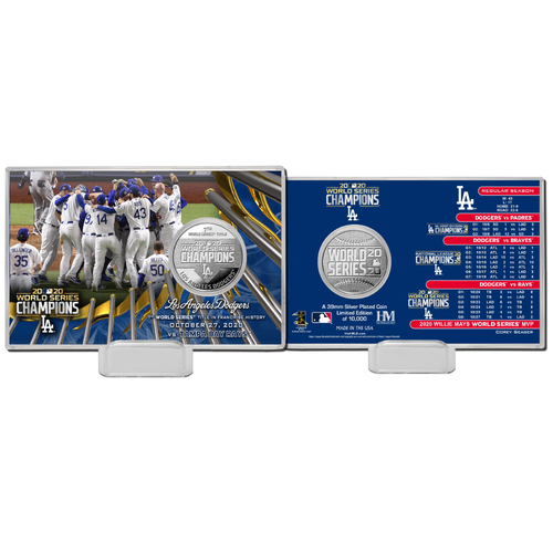 Photo of Los Angeles Dodgers 2020 World Series Champions Celebration Silver Coin Card