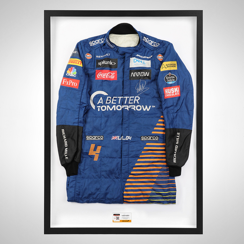 Photo of Lando Norris 2020 Framed Signed Race-worn Race Suit - Abu Dhabi GP