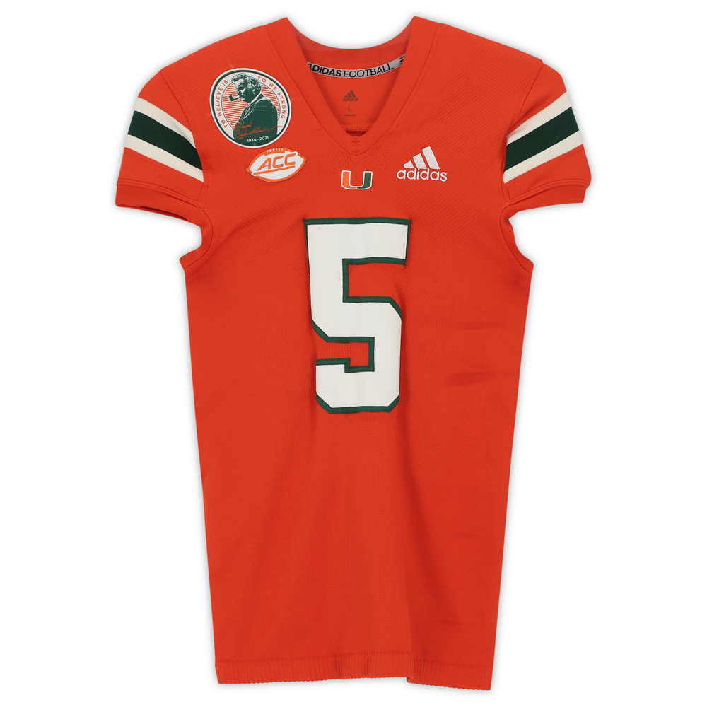 #5 Miami Hurricanes Team-Issued adidas Primeknit Jersey with Howard Schnellenberger Patch vs. Virginia Cavaliers September 30, 2021 - Size L