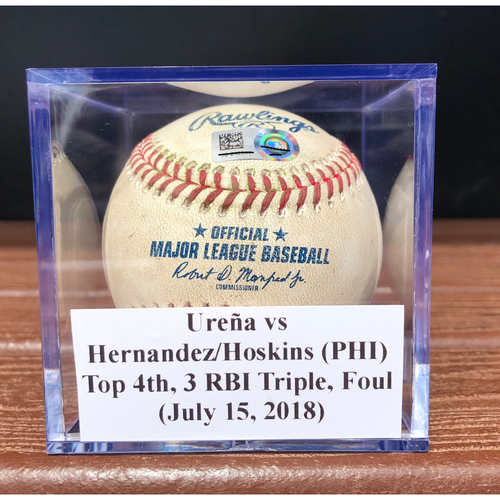 Photo of Game-Used Baseball: Jose Ureña vs Cesar Hernandez & Rhys Hoskins (PHI), Top 4th, 3 RBI Triple & Foul (July 15, 2018)