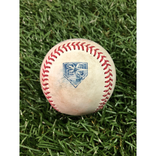 Photo of 20th Anniversary Game Used Baseball: Jake Bauers double off Luis Severino - July 23, 2018 v NYY