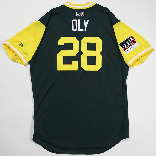 "Photo of Matt ""Oly"" Olson Oakland Athletics Game-Used Jersey 2018 Players' Weekend Jersey"