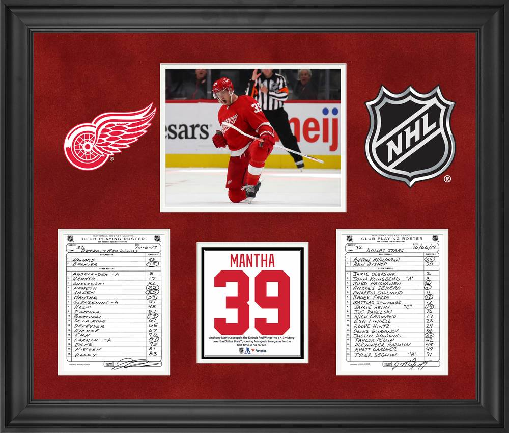 Detroit Red Wings Framed Original Line-Up Cards from October 6, 2019 vs. Dallas Stars - Anthony Mantha Scores Career High Four Goals and Second NHL Hat Trick