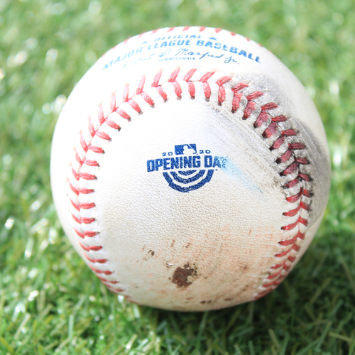 Photo of Game-Used Opening Day Baseball: Batter - Gordon, Pitcher - Keuchel, Foul, Bottom 2 (7/31/20 CWS @ KC)