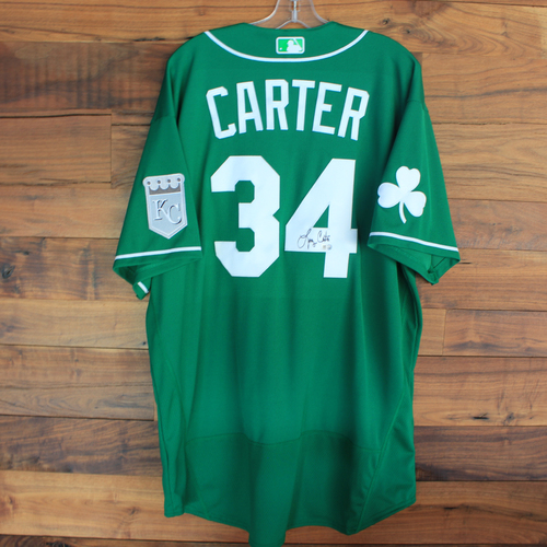 Photo of Autographed 2020 St. Patrick's Day Jersey: Larry Carter #34 - Size 52