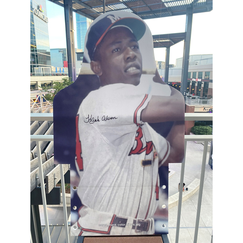 Photo of MLB Authenticated Autographed Cardboard Cutout photo of Hank Aaron setting the Milwaukee Braves franchise record for total bases in 1959 with 400 for the season
