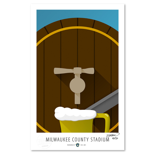 Photo of County Stadium - Collector's Edition Minimalist Art Print by S. Preston Limited Edition /350  - Milwaukee Brewers