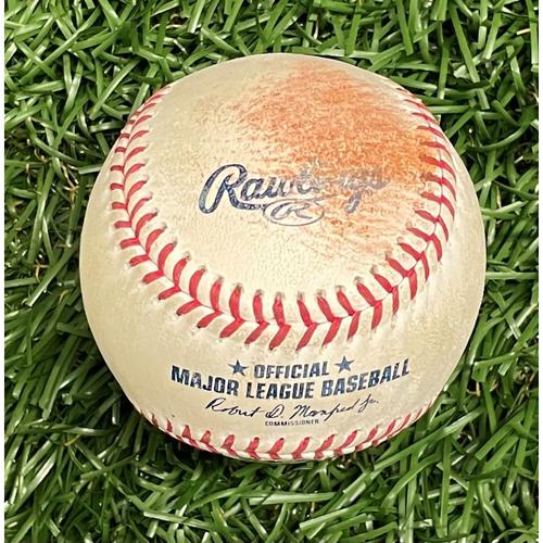 Photo of Game Used Baseball: Yusei Kikuchi strikes out Yandy Diaz - Bottom 6 - August 3, 2021 v SEA