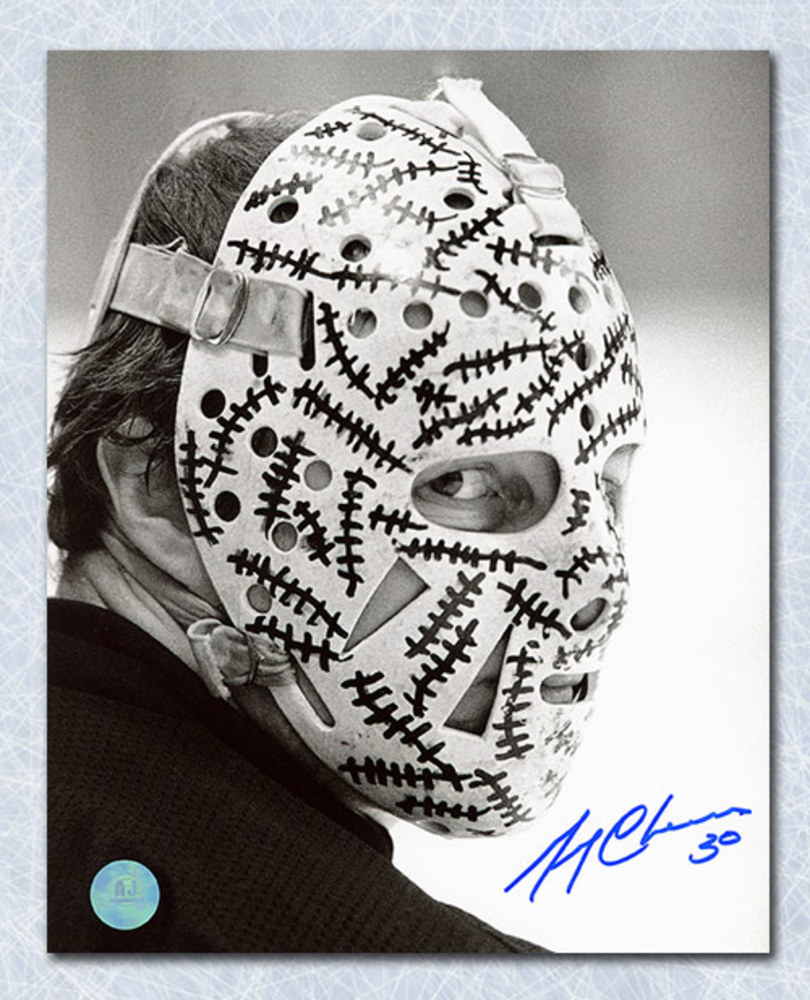 Gerry Cheevers Boston Bruins Autographed Black & White Mask Close Up 16x20 Photo