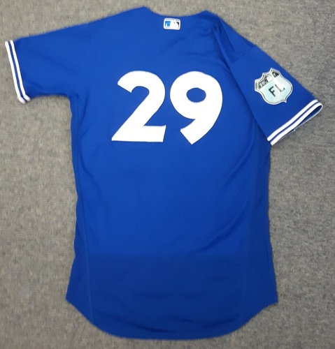 Authenticated Game Used Spring Training Jersey (March 24, 2017 vs Boston Red Sox) - #29 Devon Travis. Travis went 1-for-2 with 1 Double, 1 1 Run, and 1 RBI.