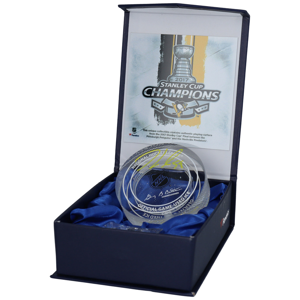 Jake Guentzel Pittsburgh Penguins Autographed 2017 Stanley Cup Crystal Puck - Filled With Ice From the 2017 Stanley Cup Final