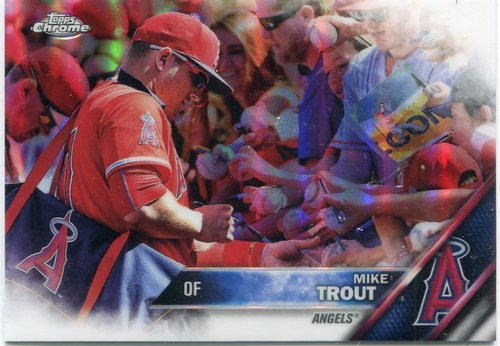 Photo of 2016 Topps Chrome Green Refractors #1B Mike Trout Short Print/w/Fans