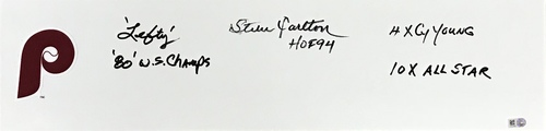 Photo of Steve Carlton Autographed 'STAT' Inscription Phillies Pitching Rubber