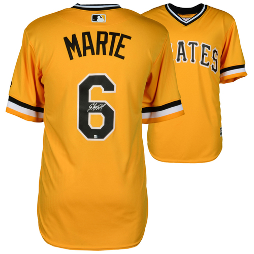 Photo of Starling Marte Pittsburgh Pirates Autographed Yellow Replica Jersey