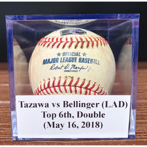 Photo of Game-Used Baseball: Junichi Tazawa vs Cody Bellinger (LAD), Top 6th, Double (May 16, 2018)