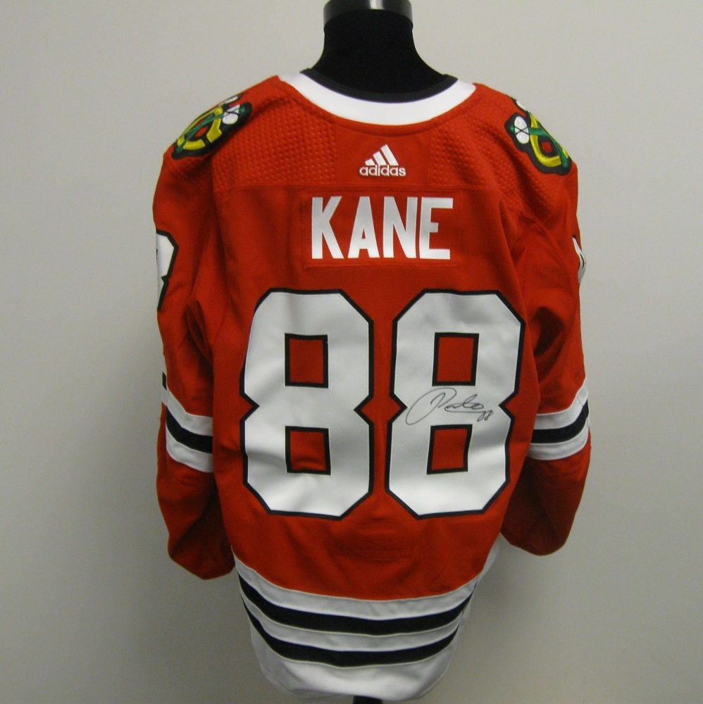 Patrick Kane Autographed Event Worn Jersey from 2018 Player Media Tour - Chicago Blackhawks